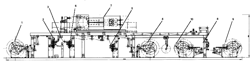 A schematic drawing of a beam accelerator